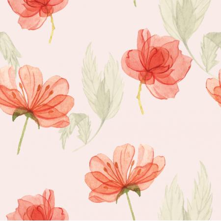Tkanina 15179 | kwiatki na różu pudrowym xl