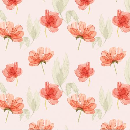 Tkanina 15181 | kwiatki na różu pudrowym Small