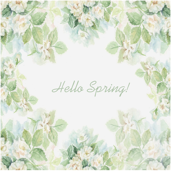 Fabric  | Hello Spring - White Roses000