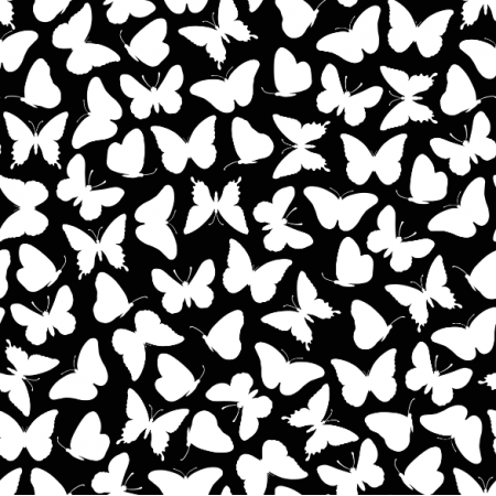 Tkanina 15395 | Butterflies/black0