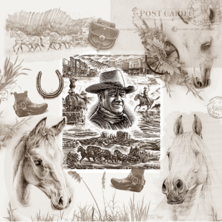 Fabric  | Country Western - Cowboy Collage Sepia