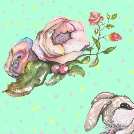 Tkanina 15439 | bunny and roses