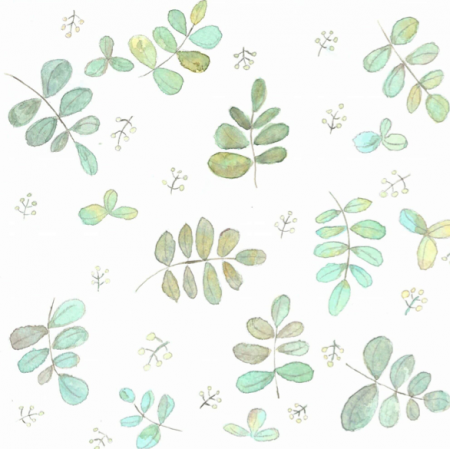 Fabric 15542 | leaves aquarel