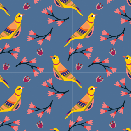 Fabric 15548 | Ptaszki na Niebieskim tle