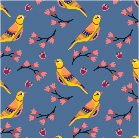Tkanina 15548 | Ptaszki na Niebieskim tle