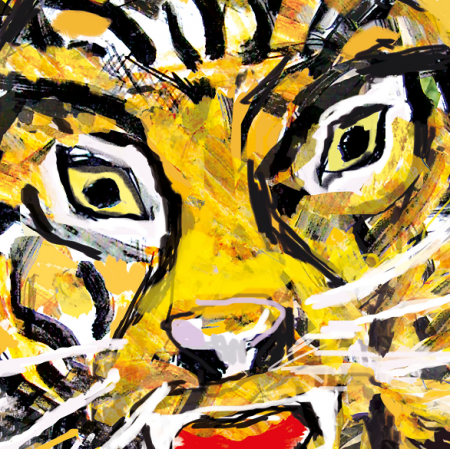 15553 | Tiger in the jungle pattern for pillow