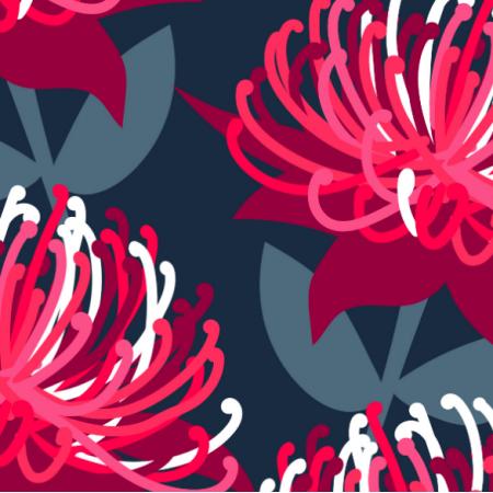 Tkanina 15579 | Waratah Australian Flora Pink Navy