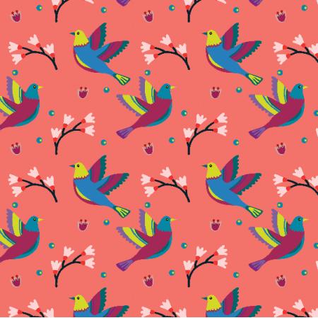 Fabric 15589 | Ptaki wsród magnolii x small