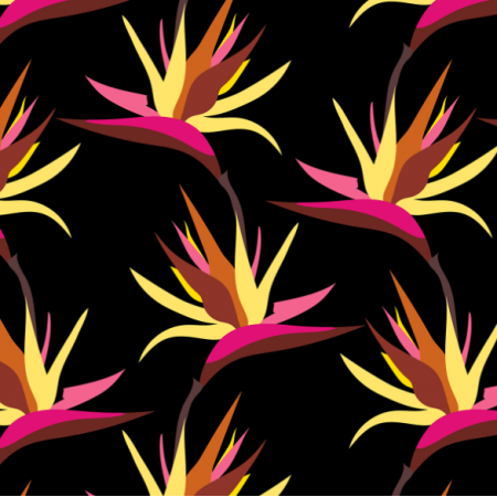 Tkanina 15795 | Bird of Paradise Tropical Black