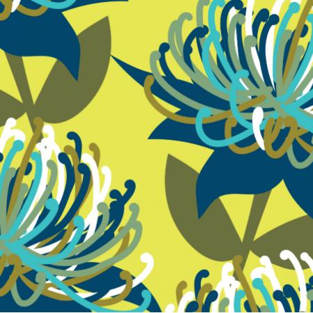 Tkanina 15808 | Waratah australian flora blue - Large Scale