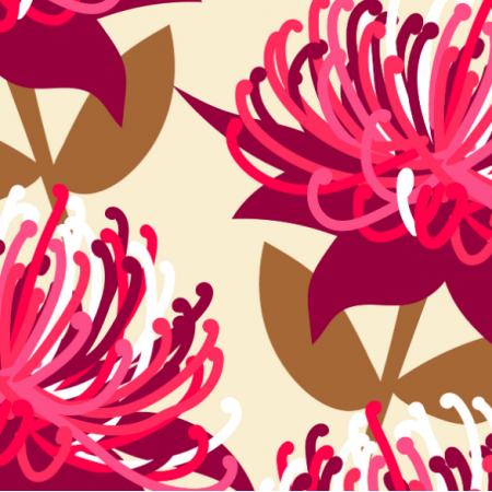 15809 | Waratah australian flora cream - Large Scale