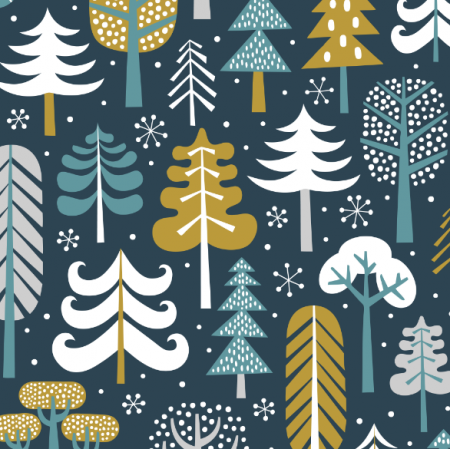 Tkanina 15968 | Winter Forest // dark blue