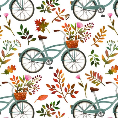 Tkanina 15972 | Autumn bike ride // white
