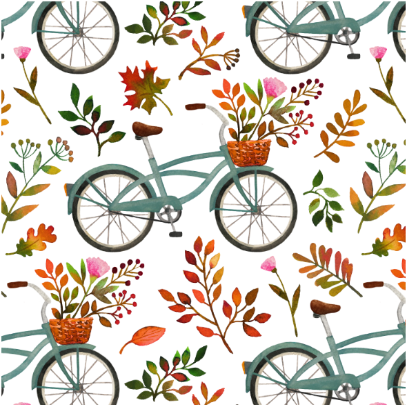 Fabric 15972 | Autumn bike ride // white