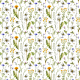 Tkanina 15979 | Watercolor Wildflowers and Bees // white