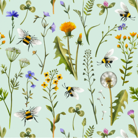 Fabric 15980 | Watercolor Wildflowers and Bees // mint