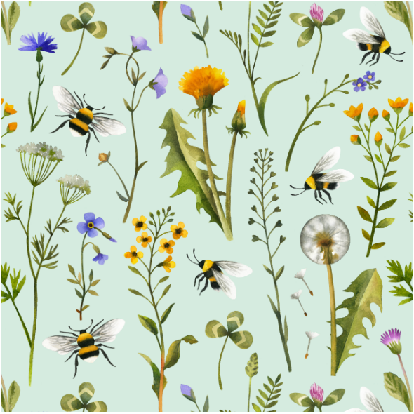 Tkanina 15980 | Watercolor Wildflowers and Bees // mint