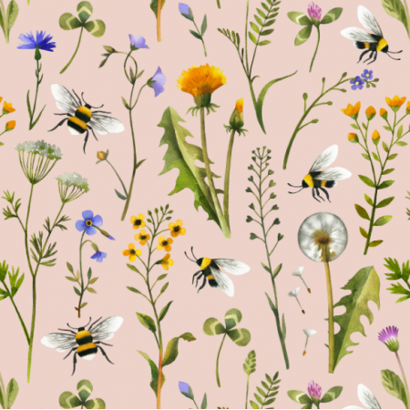 Tkanina 15981 | Watercolor Wildflowers and Bees // blush