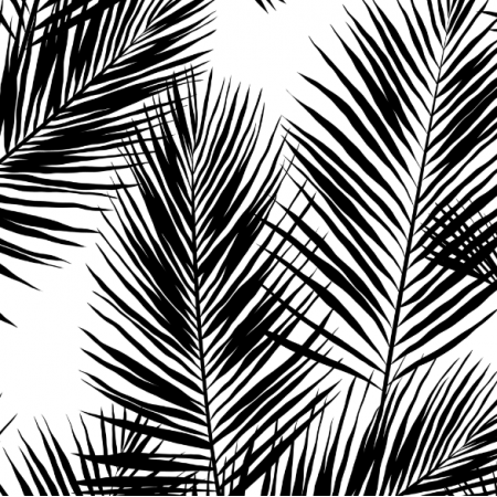 Fabric 16002 | Palm Leaves // black on white