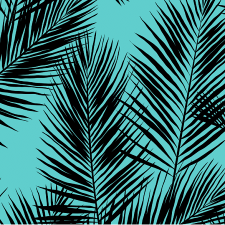 Tkanina 16004 | palm leaves // black on turquoise