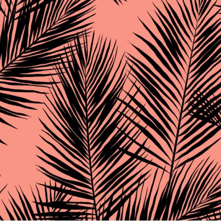 16005 | palm leaves // black on coral