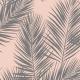 Fabric 16007   palm leaves // grey on blush