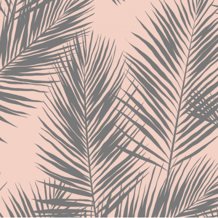 Tkanina 16007 | palm leaves // grey on blush