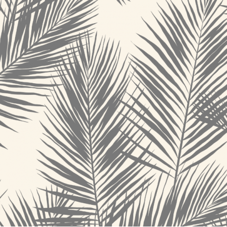 Fabric 16008 | palm leaves // grey on cream