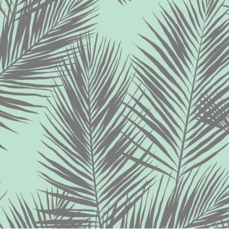 Fabric 16010 | palm leaves // grey on mint