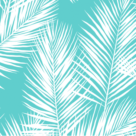 Tkanina 16011 | palm leaves // white on turquoise