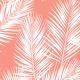 Fabric 16012 | palm leaves // white on coral