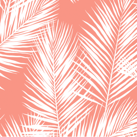 Tkanina 16012 | palm leaves // white on coral
