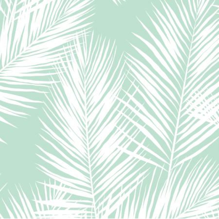 Fabric 16013 | palm leaves // white on mint