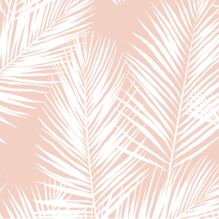 Fabric 16014 | palm leaves // white on blush