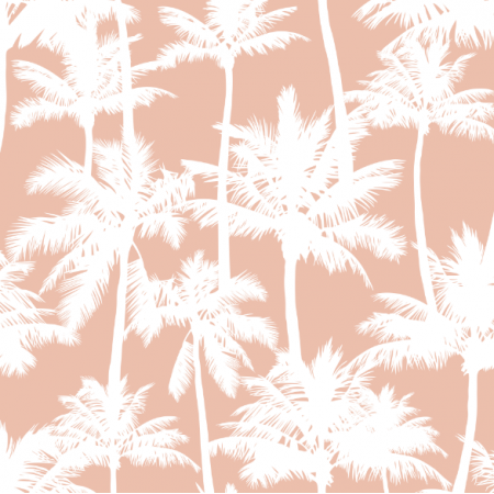 Fabric 16017 | Palm trees // white on blush