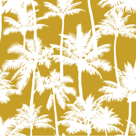 16018 | Palm trees // white on mustard
