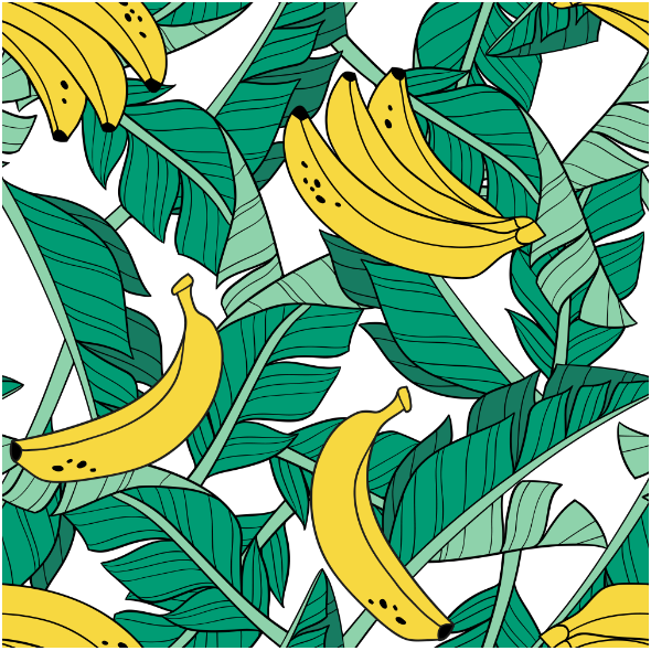 Fabric 16042 | Bananas and leaves // white