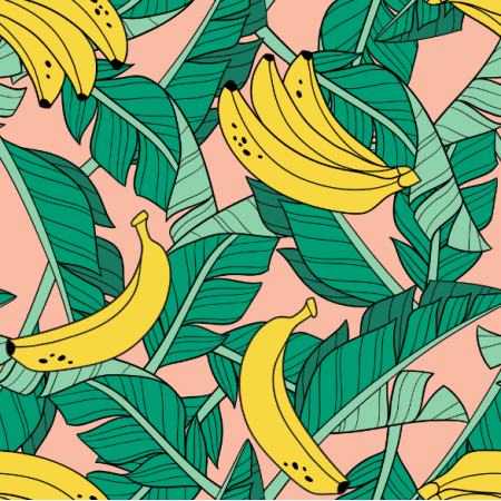 Fabric 16043 | Bananas and leaves // blush
