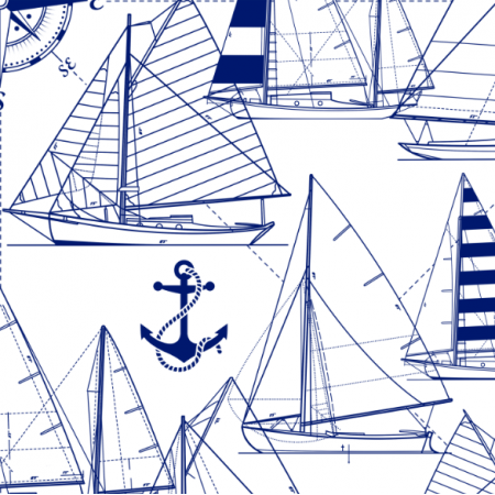Tkanina 16049 | Sailboats // dark blue