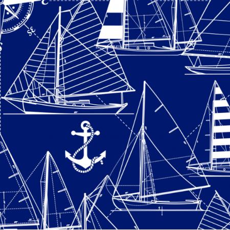 Fabric 16050 | Sailboats // white on dark blue