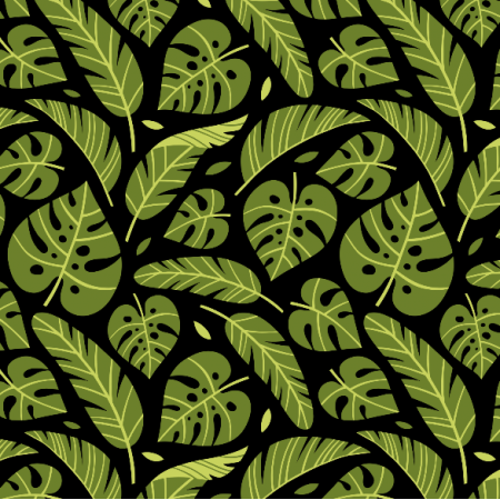 Fabric 16061 | Tropical leaves // black