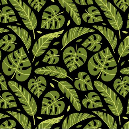16061 | Tropical leaves // black