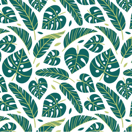 Tkanina 16063 | Tropical leaves // white