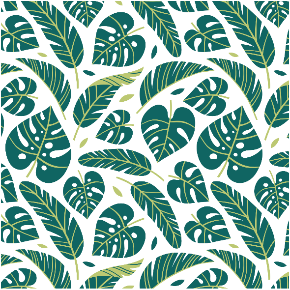 Fabric 16063   Tropical leaves // white