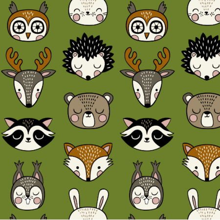 16069 | Woodland Animal heads // green