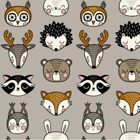 Tkanina 16070 | Woodland Animal heads // grey