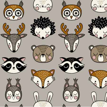 16070 | Woodland Animal heads // grey