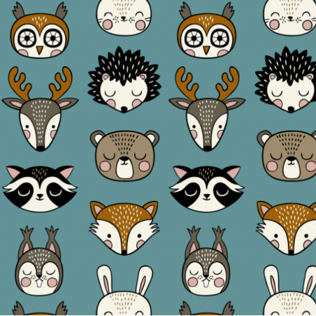 Tkanina 16071 | Woodland Animal heads // teal