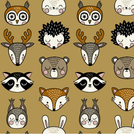 16072 | Woodland Animal heads // mustard