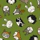 Fabric 16073   Woodland Animal heads // green